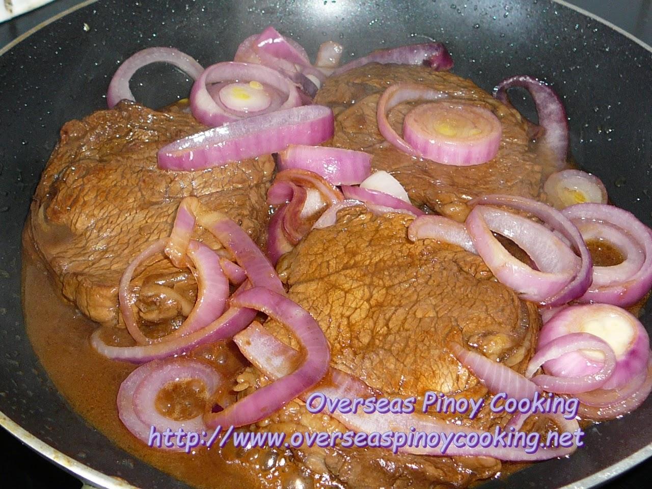 Beef Sirloin Steak, Bistek Style - Cooking Procedure