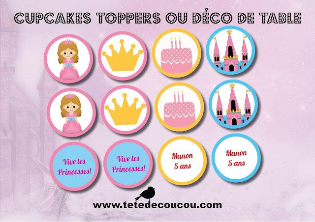 Cupcakes toppers ou deco de tabl Kit anniversaire personnalisé princesse fille rose à imprimer tête de coucou