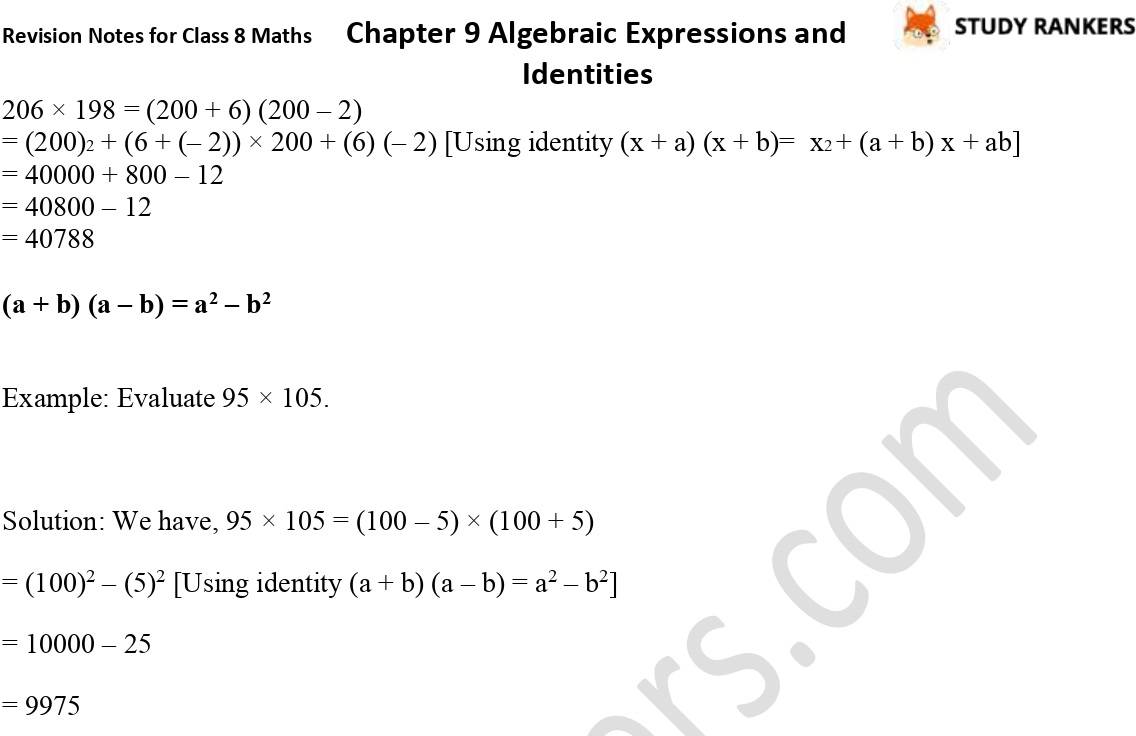CBSE Revision Notes for Class 8 Chapter 9 Algebraic Expressions and Identities Part 4