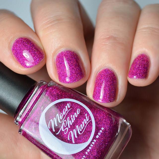 pink holographic glitter nail polish