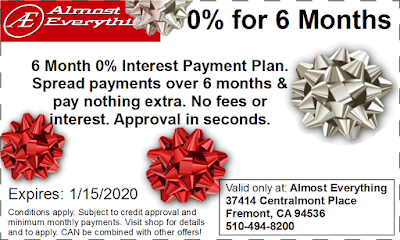 Coupon 6 Month Interest Free Payment Plan December 2019
