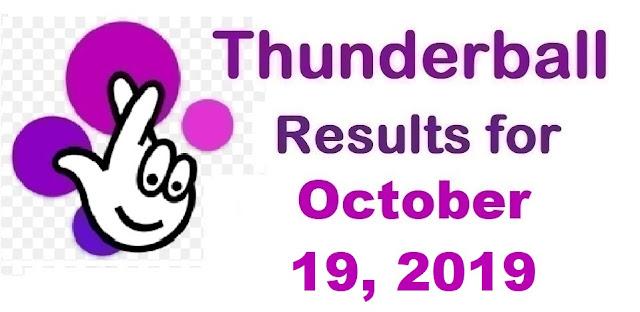 Thunderball Results for Saturday, October 19, 2019