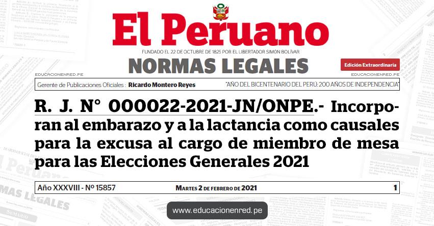 R. J. N° 000022-2021-JN/ONPE.- Incorporan al embarazo y a la lactancia como causales para la excusa al cargo de miembro de mesa para las Elecciones Generales 2021