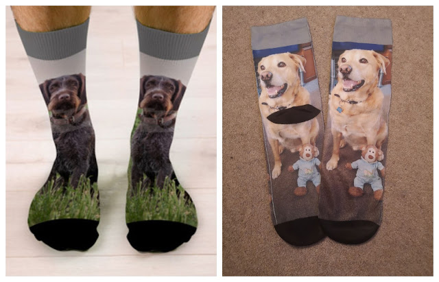 Mens photo socks with a dog