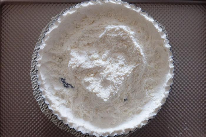 crumbs pushed into tart pan edges