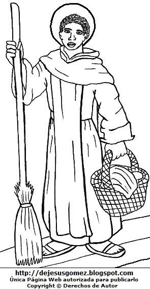 Dibujo de San Martín de Porres de cuerpo entero para colorear pintar imprimir. Imagen de San Martín de Porres hecho por Jesus Gómez