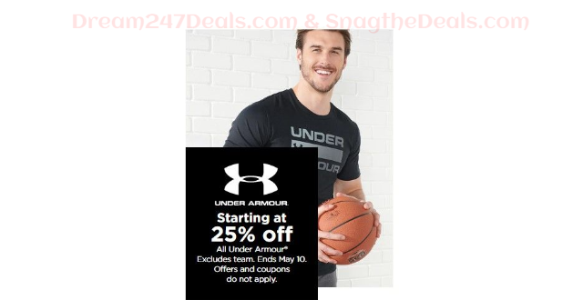 KOHLS  Sale 25% off or more on Under Armour