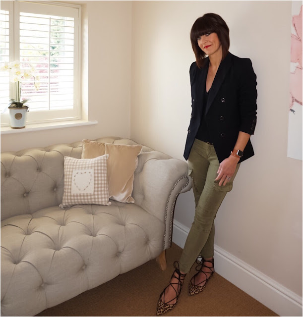 My Midlife Fashion, Marks and Spencer Limited Edition Double Breasted Blazer, skinny fit combat trousers, leopard print shoes, animal print shoes, ghillie lace up leopard print zara shoes
