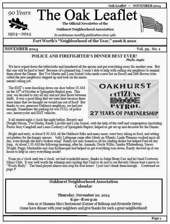 November Oak Leaflet