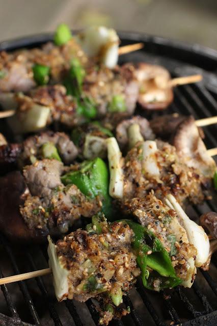 grill barbecue brochette boeuf shiitake