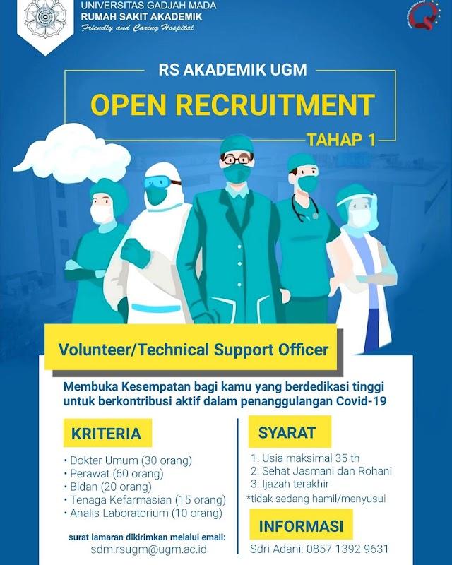 RS Akademik UGM: Open Recruitment Tahap 1 (Voulnteer/ Technical Support Officer)