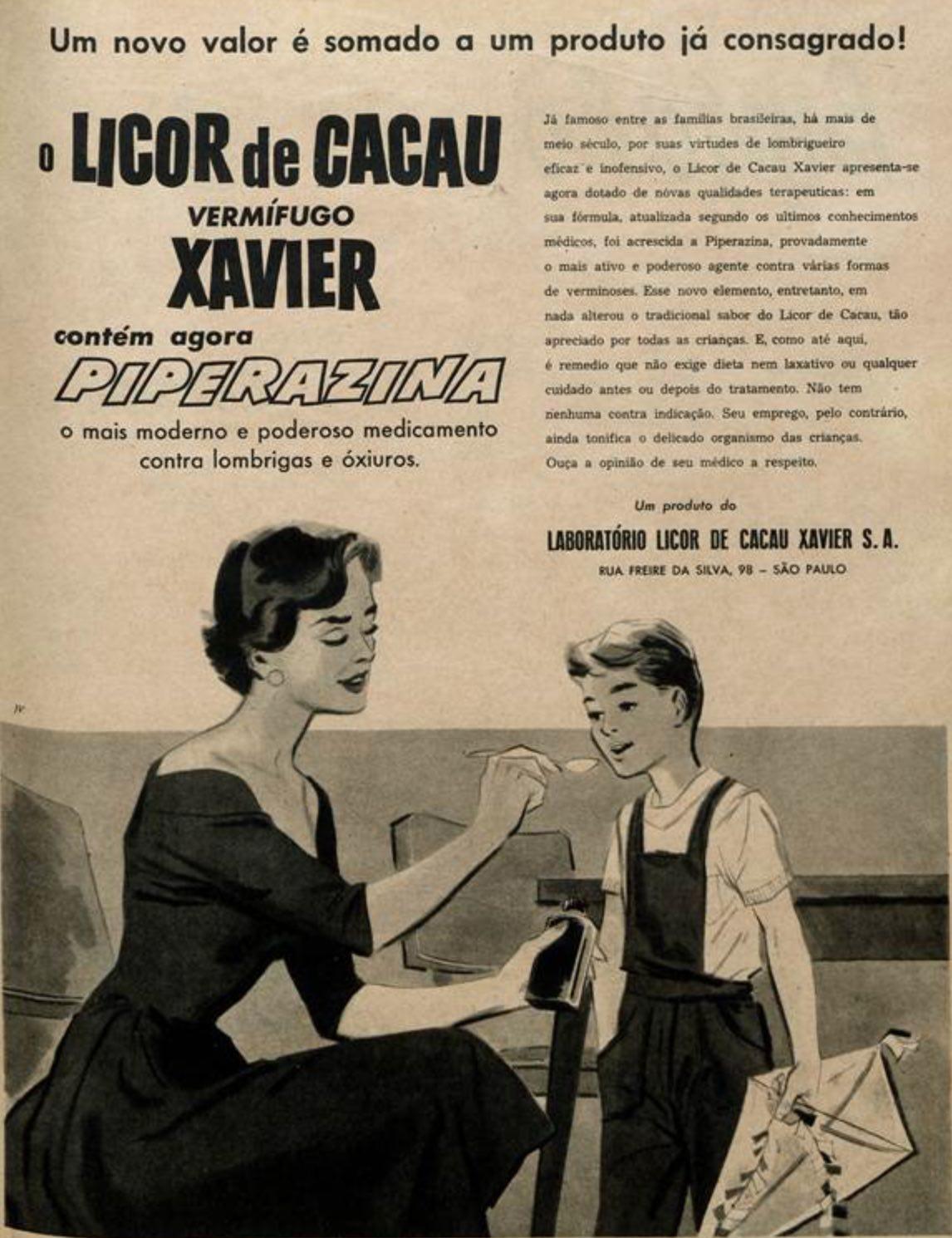 Anúncio antigo do Licor de Cacau Xavier com Piperazina veiculado em 1958