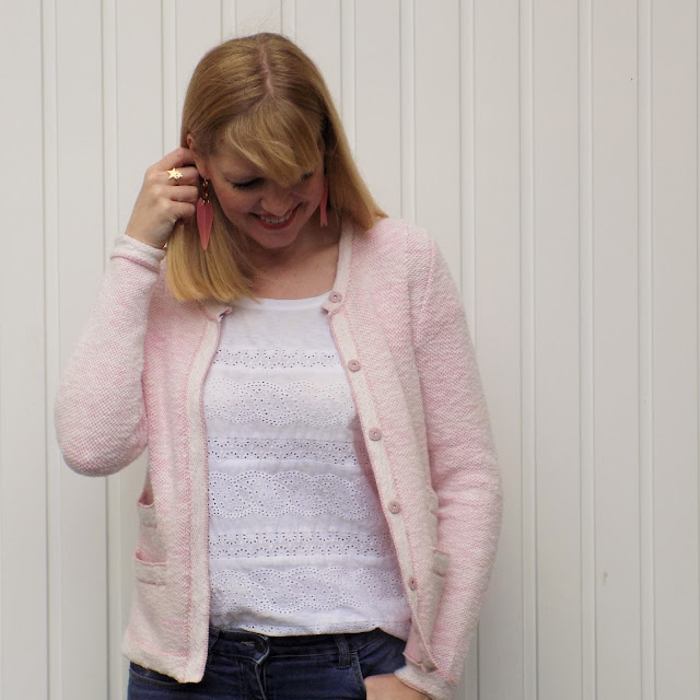 Pink knitted Chanel style jacket with distressed boyfriend jeans and pink heels