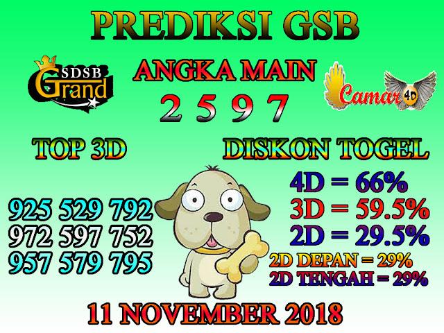 Prediksi Togel GSB 11 November 2018