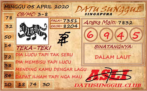 Prediksi Togel Singapura Minggu 05 April 2020 - Syair Datu Sunggul SGP