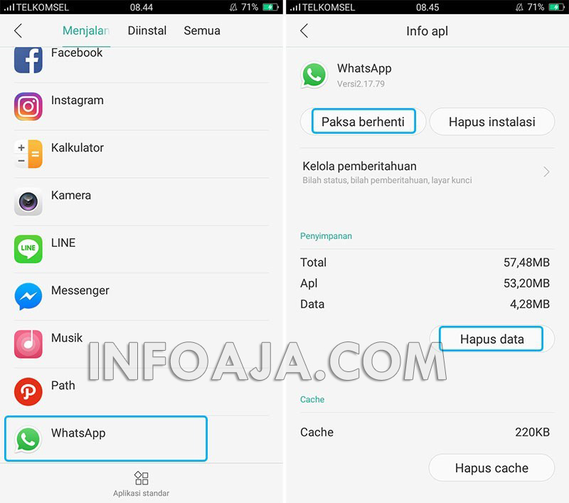 Hapus data aplikasi WhatsApp