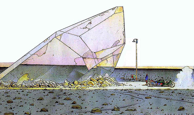 Moebius 1986, a giant purple crystal in the desert