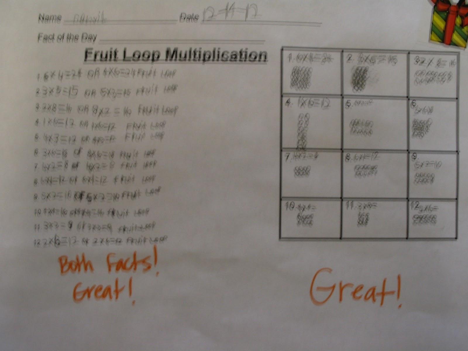 Mrs Seiber S Class Fruit Loop Multiplication
