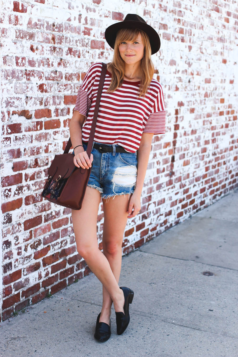 nyc fashion blogger, nyc fashion blog, vintage fashion blogger, distressed vintage denim, charlotte russe striped tee