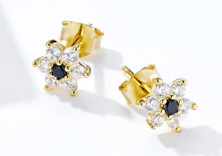 雅之花 925純銀鋯石耳環