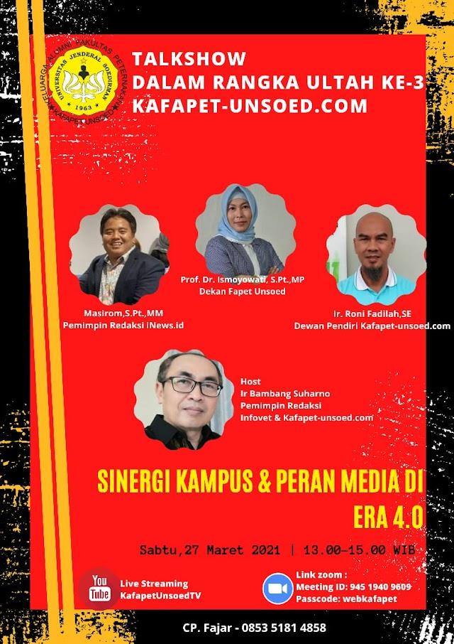 "Ikuti Talkshow Ultah Ke-3 Kafapet-Unsoed.com ""Sinergi Kampus dan Peran Media di Era 4.0"""