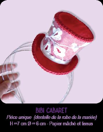 Mini chapeau haut de forme (bibi) thème Cabaret, rouge et blanc aux couleurs du mariage, sur serre-tête diadème. Tissus satin rouge, dentelle de la robe de la mariée, perles, galons rouges, ruban...
