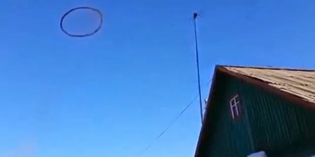 Mysterious black ring smoke in sky of Shortandy village in Kazakh