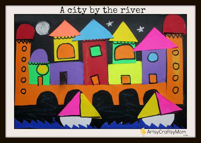 City by the river collage A city by the river  Collage   Craft Class crafts age5 7 age3 5  Pasting activities Craft Classes