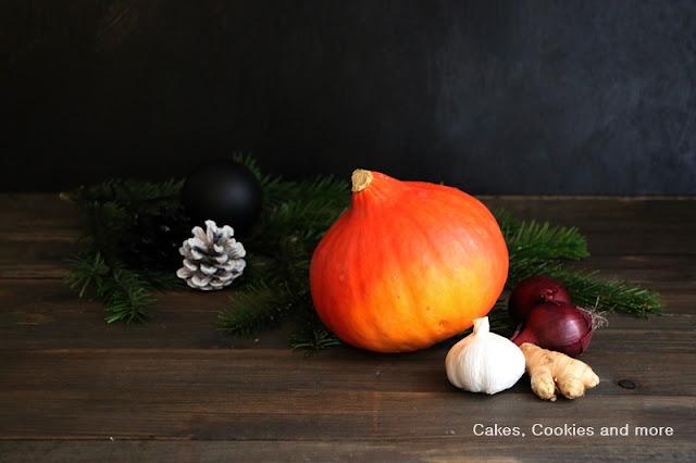 Zutaten für weihnachtliche Kürbissuppe