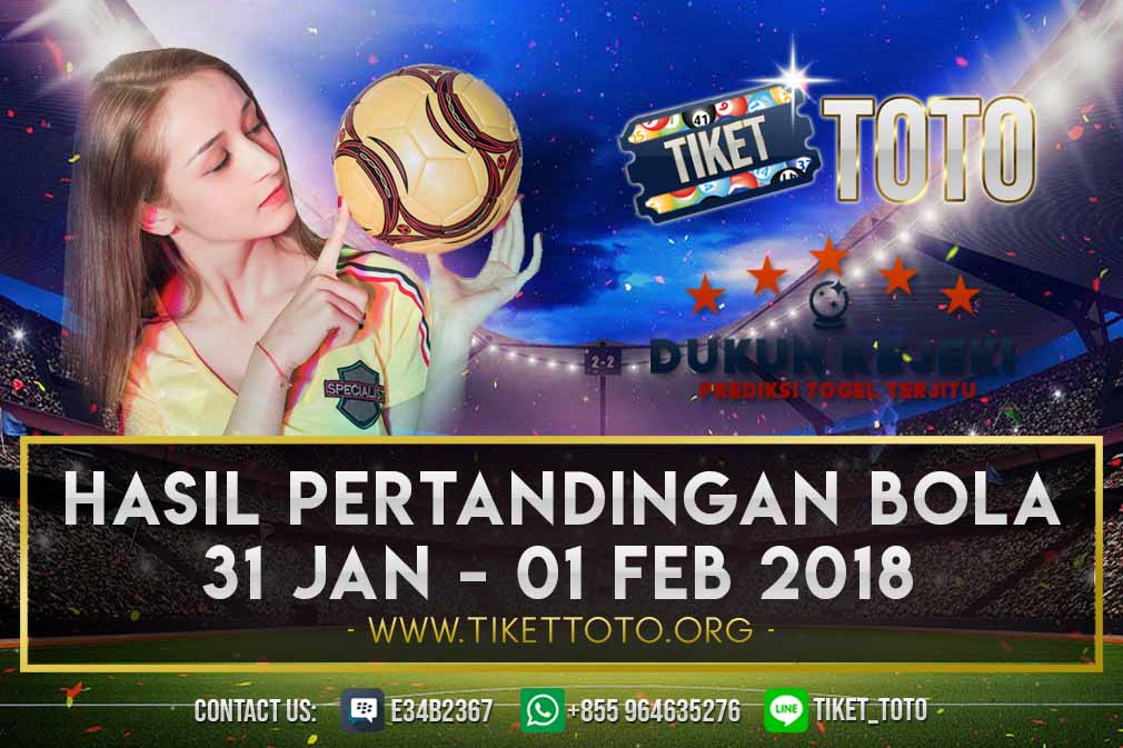 HASIL PERTANDINGAN BOLA 31 JAN – 01 FEB 2019