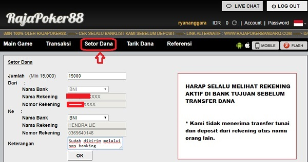 form deposit rajapoker88