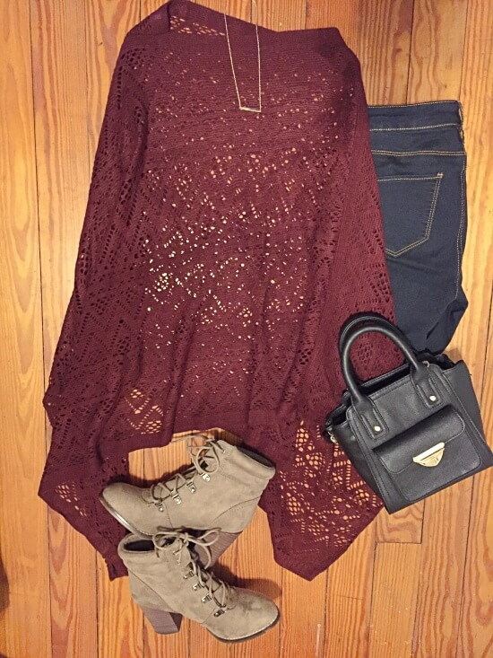 burgundy crochet poncho outfit of the day