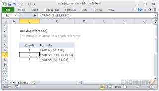 صيغ الدالة AREAS واستخدامها في برنامج MICROSOFT EXCEL