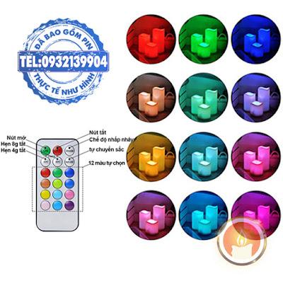 Đèn cầy trụ điện tử dùng điều khiển 12 màu