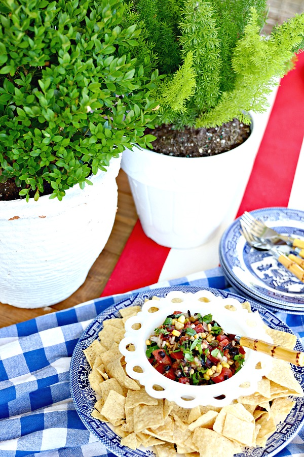 fourth of July recipe, easy appetizer, salsa,