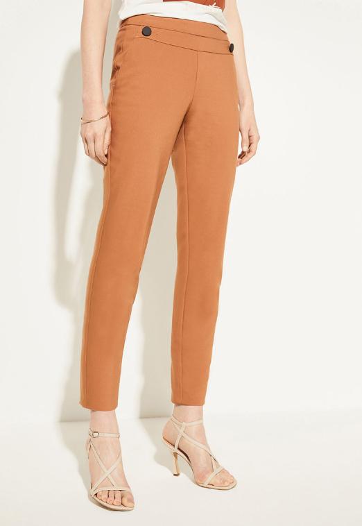 Pantaloni slim office oranj tigareta cu nasturi