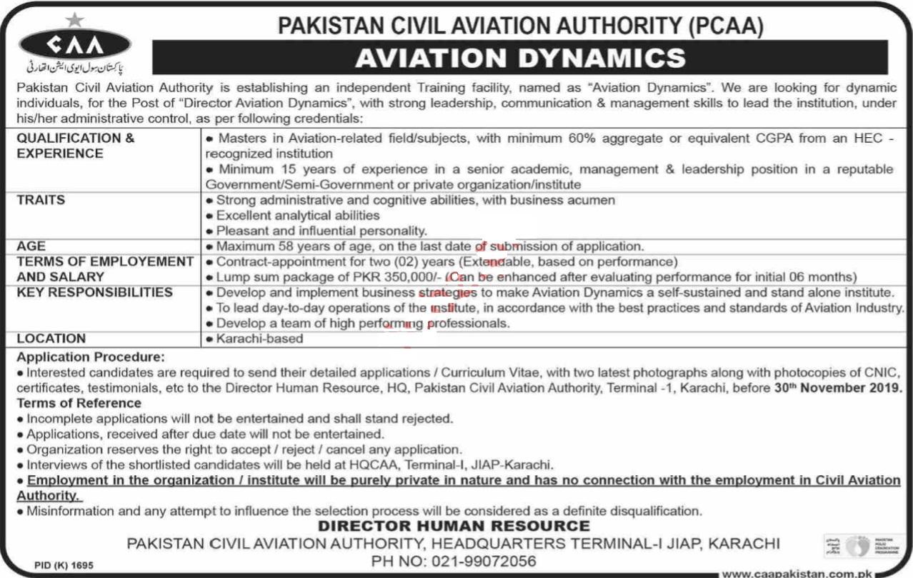 Pakistan Civil Aviation Authority CAA Management Posts Karachi 2019