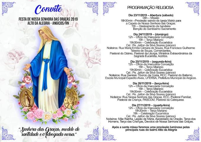 ANGICOS: Comunidade do Alto da Alegria festeja Nossa Senhora das Graças de 23 a 27 de novembro
