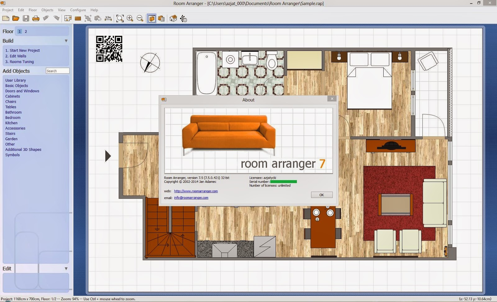 Room arranger 7 5 32 64 bit serials room arranger for Room arranger