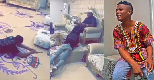 Moment Wizkid prostrated & recieved blessings from Oba Saheed Elegushi of Ikateland (Watch Video)