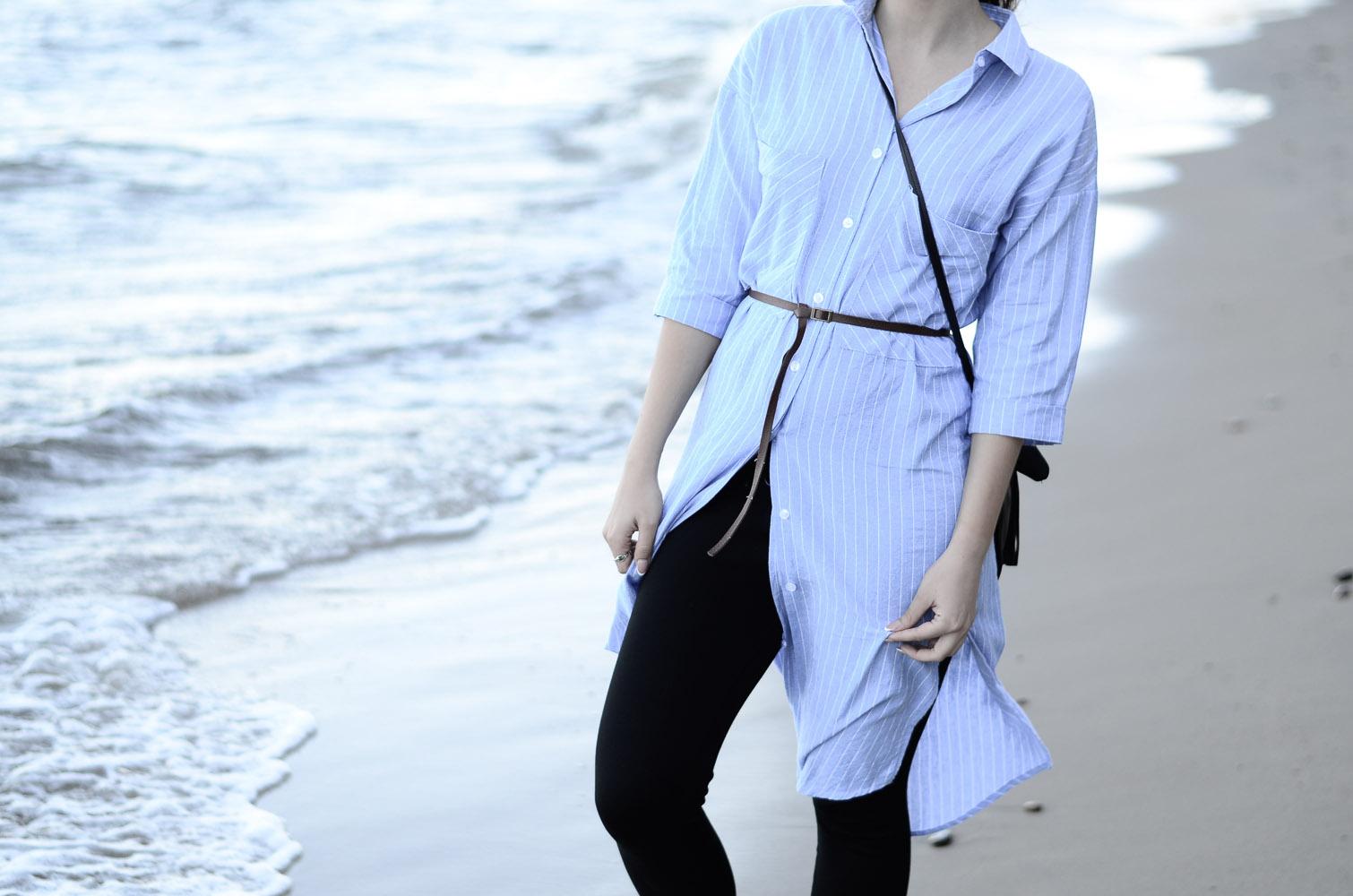 blog stylizacja szmizjerka niebieska sukienka koszulowa