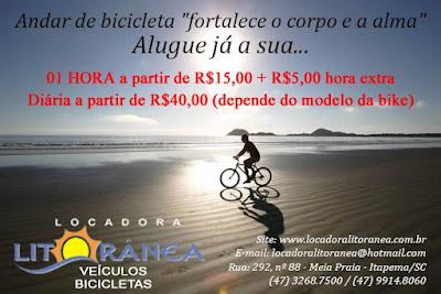 locação de bicicleta em Itapema