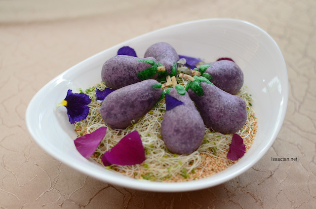 Eggplant Shaped Glutinous Rice Balls with Purple Sweet Potato