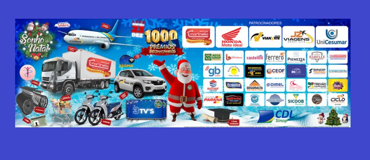 Promoção CDL Sinop Natal 2020 Sonho de Natal Prêmios Instantâneos