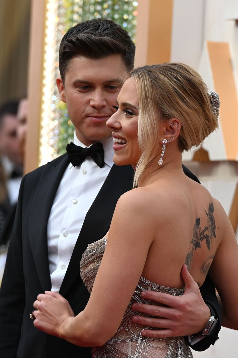 Scarlett Johansson shows off back tattoo in corset gown on Oscars 2020 red carpet