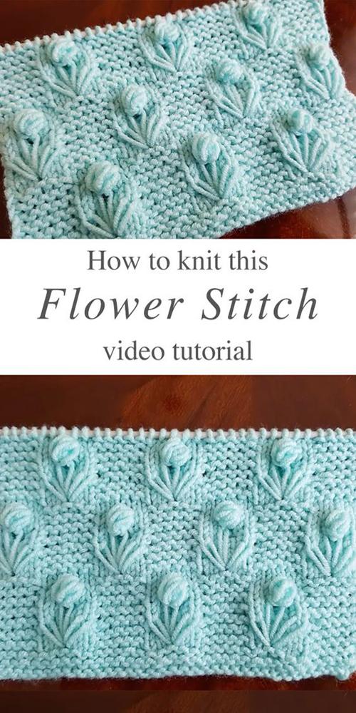 Knitting Flower Stitch - Tutorial