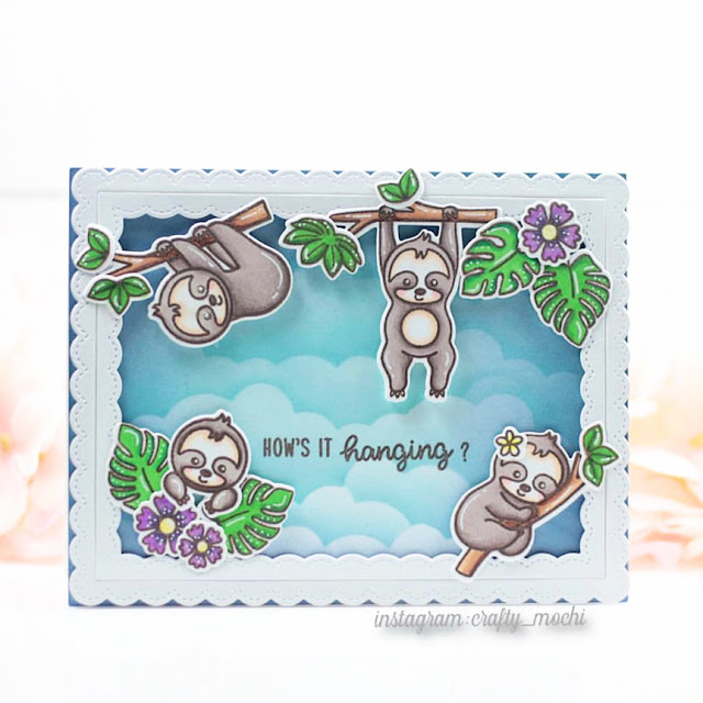 Sunny Studio Stamps: Silly Sloths Fancy Frame Dies Customer Card by Gladys