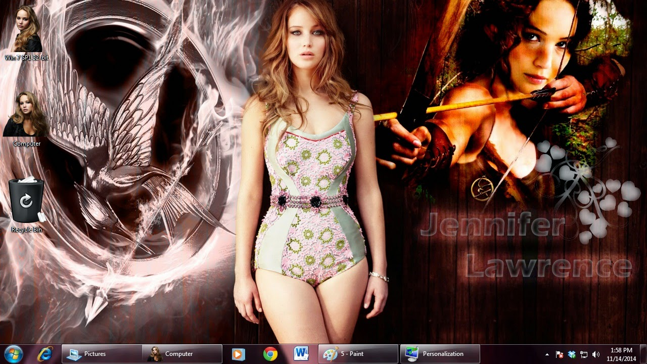 Jennifer Lawrence theme for Windows 7 / 8 / 8.1