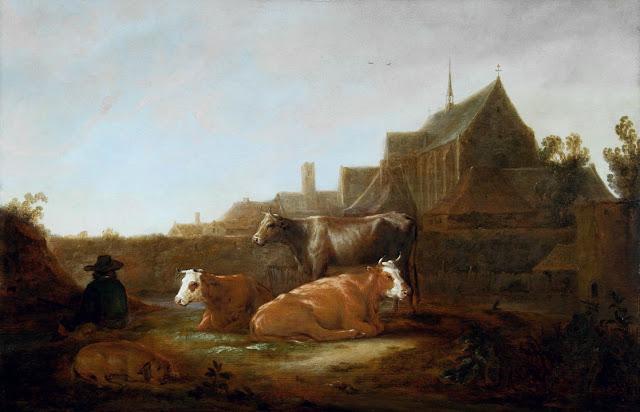 Альберт Кёйп - Пастух с коровами на фоне Утрехта