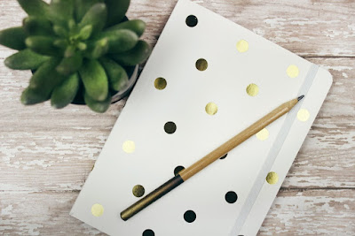 Coming up with blog post ideas - notebook and plant